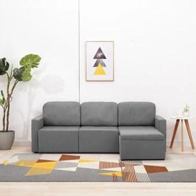 288783 vidaXL Sofá-cama modular de 3 lugares tecido cinzento-claro