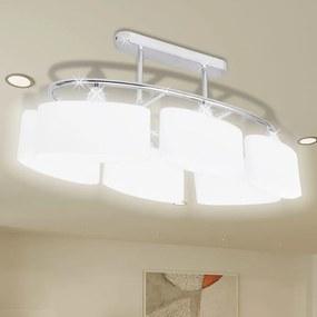 240989 vidaXL Lâmpada de teto com vidro de sombras em forma oval para 6 E14 Bulbos