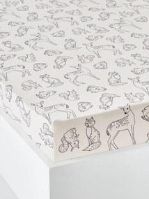 Lençol-capa para criança, em algodão bio*, Wild Friends branco claro estampado