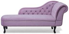 Chaise longue à direita em veludo rosa NIMES