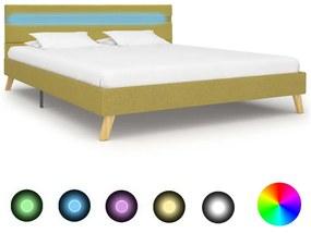 284860 vidaXL Estrutura de cama com LED 120x200 cm tecido verde