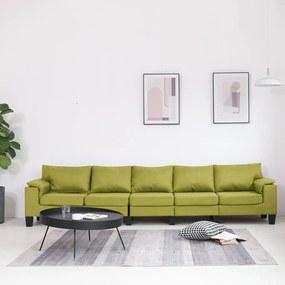 287105 vidaXL Sofá de 5 lugares em tecido verde