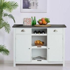 HOMCOM Aparador de madeira, mesa de console multifuncional com prateleiras gavetas bandeja removivel 115x48x87cm branco e marrom