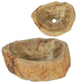 142778 vidaXL Lavatório 45x35x15 cm madeira petrificada creme