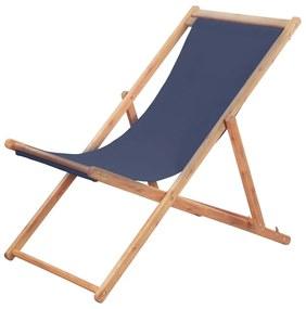 44000 vidaXL Cadeira de praia dobrável tecido e estrutura de madeira azul