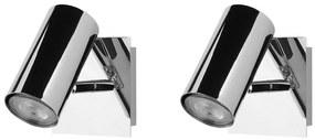 Conjunto de 2 candeeiros de parede em metal prateado ROSETTA