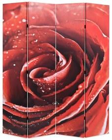 245894 vidaXL Biombo dobrável com estampa de rosa vermelha 160x170 cm