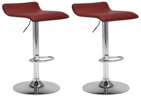 323332 vidaXL Bancos de bar 2 pcs couro artificial vermelho tinto