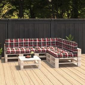 314601 vidaXL Almofadões para sofás de paletes 7 pcs padrão vermelho xadrez