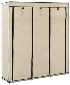 282455 vidaXL Roupeiro c/ compartimentos e varões 150x45x175 cm tecido creme