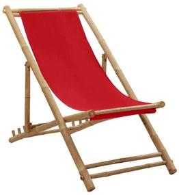 313020 vidaXL Espreguiçadeira de bambu e lona vermelho