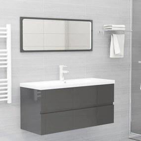 804907 vidaXL 2 pcs conj. móveis casa de banho contraplacado cinza brilhante