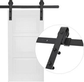 HOMCOM Kits de acessórios para porta deslizante dupla com trilhos de 200 cm de aço preto