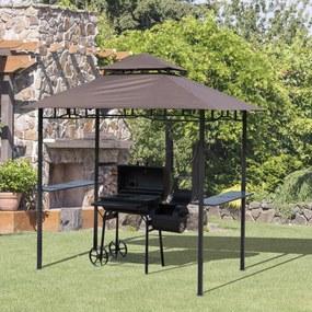Outsunny Pérgola de jardim 245x148 cm com teto duplo 2 prateleiras laterais com abridor de garrafas para churrasco cor marrom