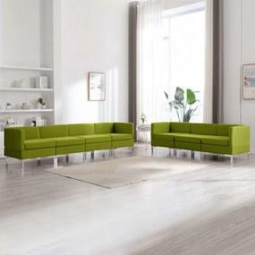 3052874 vidaXL 7 pcs conjunto de sofás tecido verde