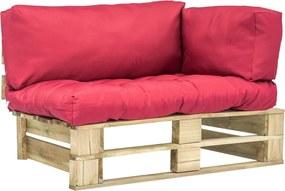 Sofá paletes jardim c/ almofadões vermelhos madeira pinho