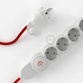 Filtro de linha com cabo elétrico RM09 e plugue Schuko com anel - 1 metro Branco