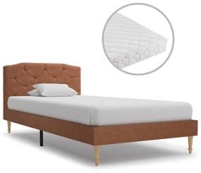 277344 vidaXL Cama com colchão 90x200cm tecido castanho