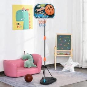 HOMCOM Tabela de basquetebol para crianças acima de 6 anos com suporte de altura ajustável e base recarregável incluídos 32x65x126-158 cm