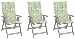 3064740 vidaXL Cadeiras jardim reclináveis c/ almofadões 3 pcs acácia maciça