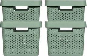 427239 Curver Caixas de arrumação c/ tampa Infinity 4 pcs 11L+17L verde