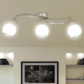 240986 vidaXL Candeeiro teto com tonalidades vidro, barra ondulada, 3 lâmpadas E14