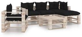 3066189 vidaXL 6 pcs conj. lounge de paletes p/ jardim com almofadões pinho