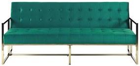Sofá-cama de 3 lugares em veludo verde MARSTAL