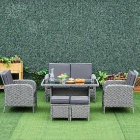 Conjunto de móveis de jardim 6 peças de vime com mesa de centro Sofá duplo 2 poltronas individuais 2 bancos com almofadas para