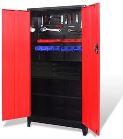 3054555 vidaXL Armário de ferramentas 90x40x180 cm vermelho e preto