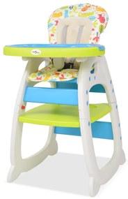 10142 vidaXL Cadeira de refeição conversível 3 em 1 com mesa azul e verde