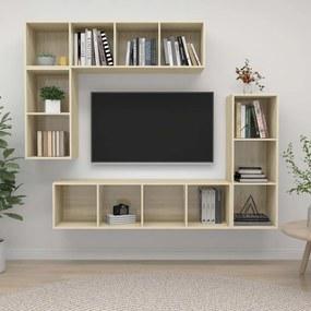 3079820 vidaXL 4 pcs conjunto de móveis de TV contraplacado carvalho sonoma