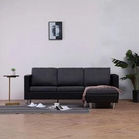 282205 vidaXL Sofá de 3 lugares com almofadões couro artificial preto
