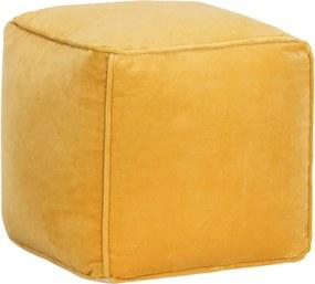 Pufe em veludo de algodão 40x40x40 cm amarelo