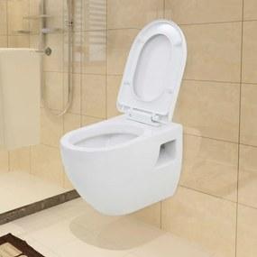 143022 vidaXL Sanita de pendurar na parede cerâmica branco
