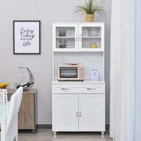 HOMCOM Armário de cozinha com prateleiras internas ajustáveis e gaveta 80x48x170 cm Branco