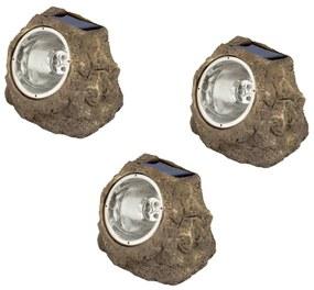 424149 Luxform Iluminação pedra para jardim solar LED Andes 3 pcs