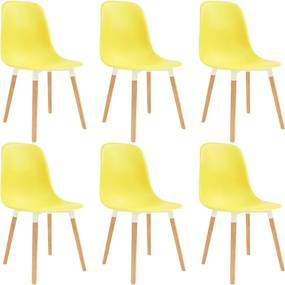 Cadeiras de jantar 6 pcs plástico amarelo