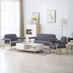 275212 vidaXL Conjunto de sofás para 6 pessoas 3 pcs tecido cinzento escuro