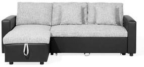 Sofá-cama de canto à esquerda com 3 lugares em tecido cinzento TAMPERE