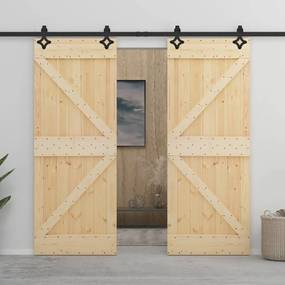 3057591 vidaXL Porta de correr com ferragens 90x210 cm madeira de pinho maciça