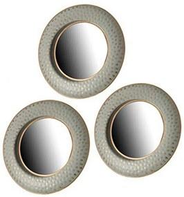 Jogo de Espelhos Cinzento Dourado Cristal Plástico (3 Peças) (27 x 3 x 78 cm)
