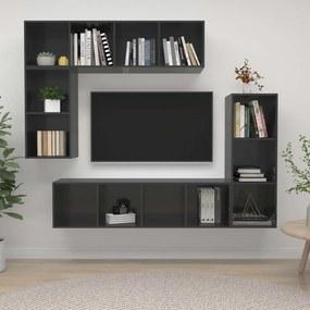 3079825 vidaXL 4 pcs conjunto de móveis de TV contraplacado cinzento brilhante