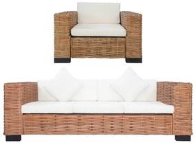 278625 vidaXL 2 pcs conjunto de sofás com almofadões vime natural