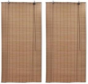 3057520 vidaXL Estores de rolo em bambu 2 pcs 120 x 220 cm castanho