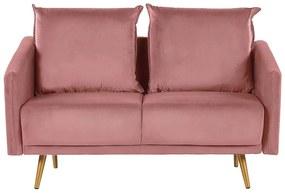 Sofá de 2 lugares em veludo rosa MAURA