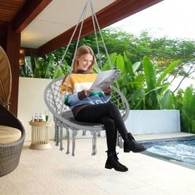 Outsunny Cadeira suspensa redonda Ø60 cm Cadeira de rede de balanço com almofada e corda de algodão para interior e exterior 80x80x42 cm cinza