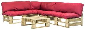 275304 vidaXL Sofás de paletes jardim 4 pcs almofadões vermelhos madeira