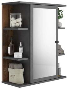 429458 FMD Armário para lavatório espelhado Matera escuro antigo