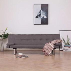 Sofá-cama com duas almofadas poliéster cinzento-acastanhado